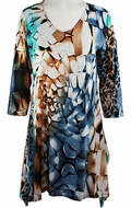 Valentina Signa � Colored Blocks, 3/4 Sleeve V-Neck Print Rhinestone Highlights