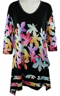 Valentina Signa � Colored Leaves, 3/4 Sleeve Sharkbite Tunic Rhinestone Accents