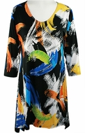 Valentina Signa � Creative Colors, 3/4 Sleeve Sharkbite Tunic Rhinestone Accent