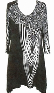 Valentina Signa - Draped Ornamental, 3/4 Sleeve Rhinestone Highlights Tunic Top