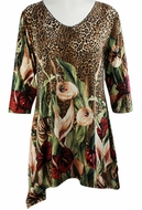 Valentina Signa - Jungle Flowers, 3/4 Sleeve Sharkbite Tunic Rhinestone Accents