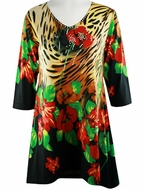 Valentina Signa � Jungle Paradise Sharkbite Tunic 3/4 Sleeve Rhinestone Accents