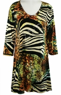 Valentina Signa - Jungle Views, 3/4 Sleeve V-Neck Print Rhinestone Highlights