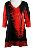 Valentina Signa - Red Splash, 3/4 Sleeve Sharkbite Tunic Rhinestone Accents