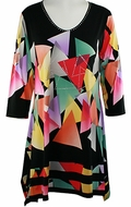 Valentina Signa � Tri Colors, 3/4 Sleeve Sharkbite Tunic Rhinestone Accents