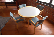 "Wood 42"" round classroom table and 4 chairs (set)"