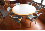 "Wood 60"" round classroom table and 6 chairs (set)"