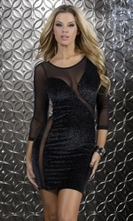 3/4 Sleeve Velvet/Glitter Mini Dress - Vittoria