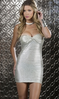Body Con Crinkled Metallic Mini Dress - Shimmer