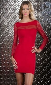 Body Con Lace Mini Dress - Vivacity