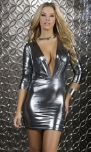 Body Con Long Sleeve Mini Dress - Dazzle