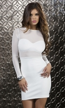 Body Con Long Sleeve Scuba Dress - Sleek