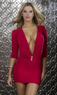 Deep Plunging Neckline Mini Dress - Embellished