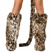 Leopard Furry Leg Warmers