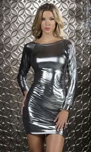 Long Sleeve Metallic Mini Dress - Glitz
