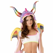 Rainbow Dragon Costume Hood