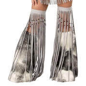 Silver Indian Beaded Fringe Leggings