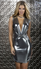 Sleeveless Metallic Mini Dress - Glisten