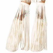 White Indian Beaded Fringe Leggings