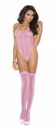 1594 Pink Opaque Nylon Halter Teddy with Heart Design OS by Elegant Moments