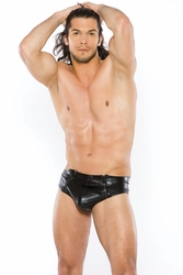23-1032Z Mens Snug Wet Look Brief with Zipper Front
