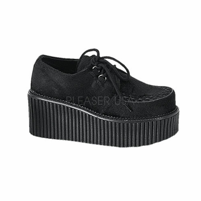 "Creeper-202 3"" Platform Goth Rockabilly Black Fur Creeper Shoe by Demonia"