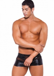 33-5602Z Mens Wet Look Peek a Boo Shorts