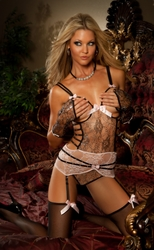B999 3pc Black & Pink Lace Corset & Stockings Set By Gworld