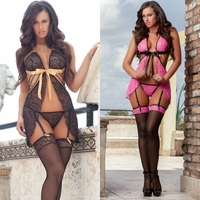 D1415 3pc Sexy Darling Sheer Flyaway Babydoll & Stockings by Gworld