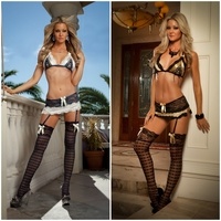 L701 3pc Satin & Lace Skirt with Garters & Stockings Set by Gworld
