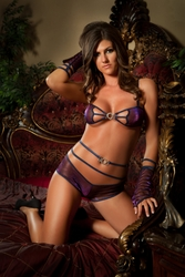 L702 3pc Scene-Stealing Purple Metallic Boyshort Set by Gworld