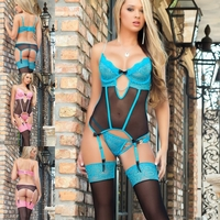 B1424 3pc Sweet Valentine Corset & Stockings Lingerie Set