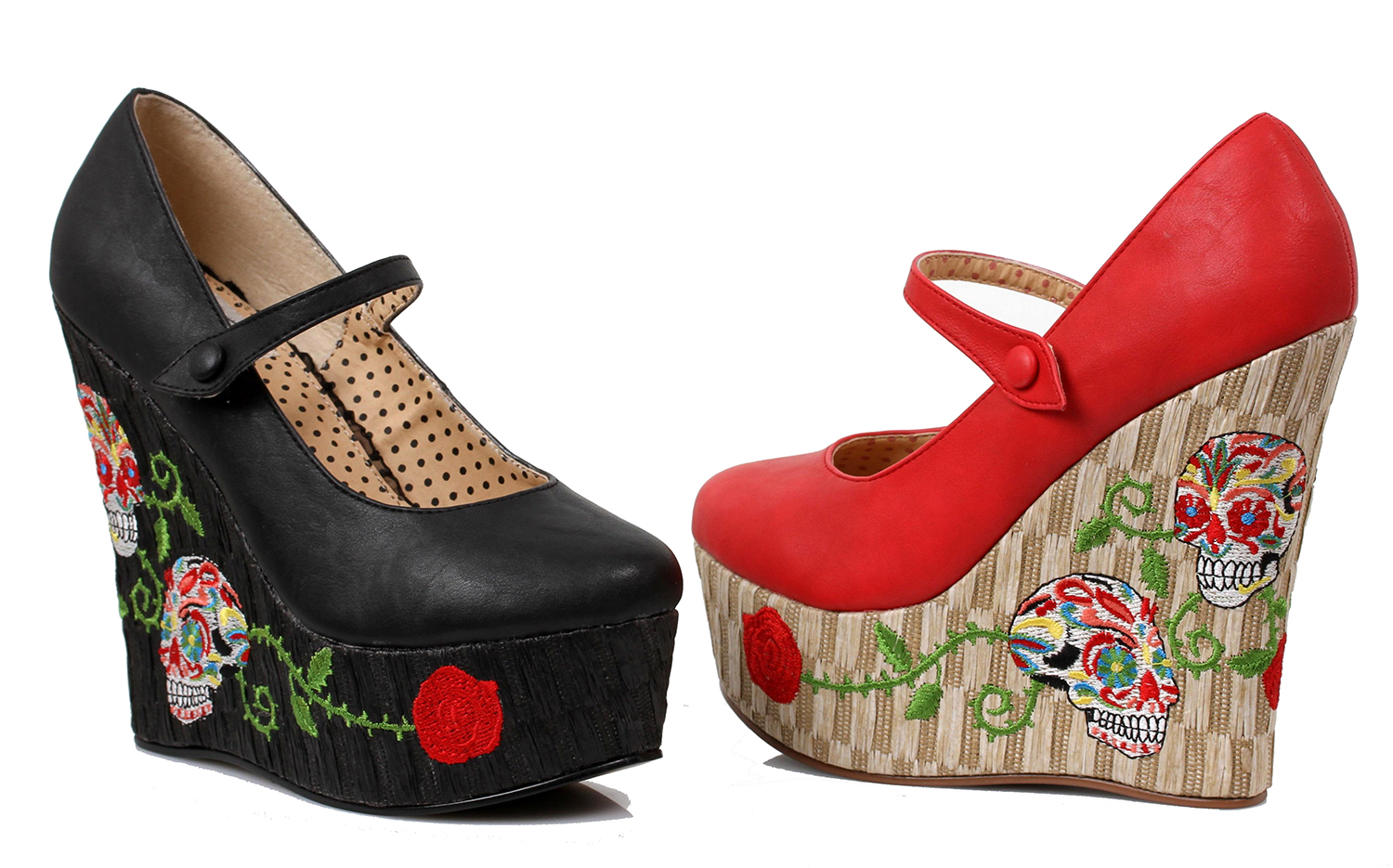 BP475 4.5 Inch Closed Toe Wedge Shoe with Skull Print by Bettie Paige