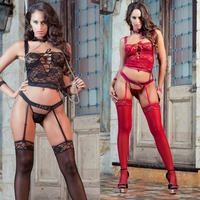L1420 4pc Secret Lover Lace Cami Top  &  Garter Panty Set by Gworld
