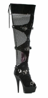 "609-Tasha 6"" Peep Toe Fishnet Thigh High Boot w/ Buckle"