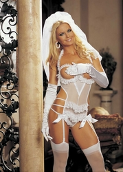 96288 Sexy Bride Boob Out Teddy Costume Lingerie by Shirley of Hollywood