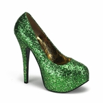 "Burlesque Bordello Teeze06G Glitter Concealed Platform Pump with 5 3/4"" Heel in Two Colors"