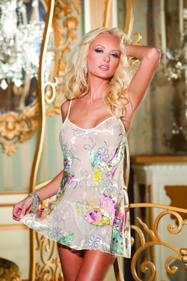Butterfly Printed Burnout Silk Chemise  S30107