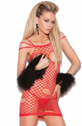8719 Red Cupless Net Mini Dress OS by Elegant Moments