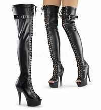 "Delight-3025 6"" Heel Platform Peep Toe Front Lace-Up Thigh High Boot by Pleaser"