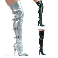 "Ellie 511-BUCKLE UP 5"" Heel Stretch Thigh Boot W/Buckles & Inner zipper.  <br>Size 5-14"