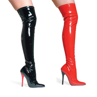 "Ellie 516-FANTASY 5"" Heel Stretch Thigh Boot W/Inner zipper.  Size 5-14"