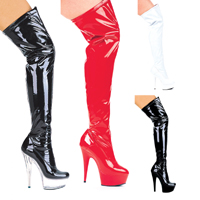 "Ellie 609-FANTASY 6"" Pointed Stiletto Heel Thigh High Stretch Boots.  Size 5-14"