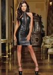 Faux Stretch Leather Halter Dress DG8706 Clubwear