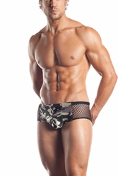 EE19 Mens Fishnet Camoflauge Print Brief Underwear