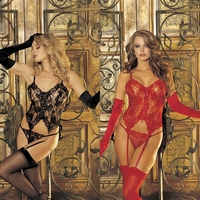 96669 3pc Lace Bustier Lingerie Set OS