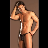 Men's Fishnet Thong with O-ring Accents- E32