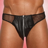 24-803 Mens Leather and Fishnet Thong w/ Zipper
