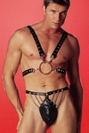 Men's Leather Fetish Half Harness w/ O-Ring  29-102