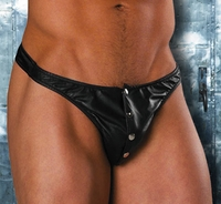 Men's Leather Thong with Snaps # 24-900